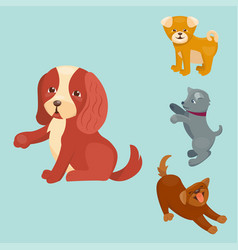 Cute playing dogs characters vector