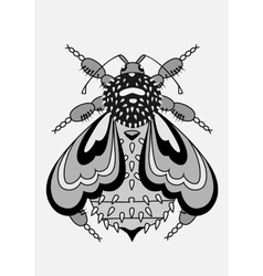 Decorative and abstract bee black and white vector