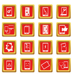 Device repair symbols icons set red vector
