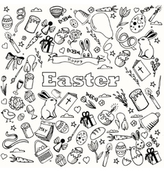 Easter coloring book design line art vector image
