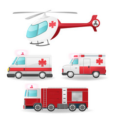 Emergency vehicles isolate collection set vector