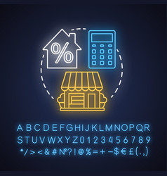 Estate taxes neon light concept icon financial vector