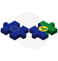 European union and christmas island flags in vector