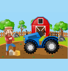 Farmer and tractor in the field vector