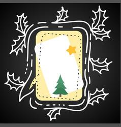 festive blank speech bubble holly leaves vector image