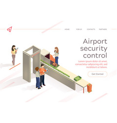 flat airport security control baggage check vector image