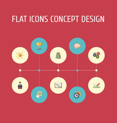 flat icons gear coin financing and other vector image
