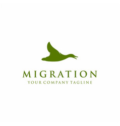 Flying up goose swan duck silhouette logo design vector