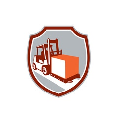 Forklift Truck Box Shield Retro vector