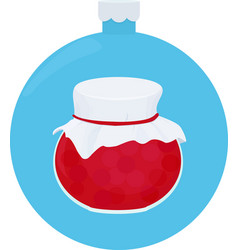 fruit jam jar glass on blue christmas ball vector image