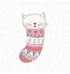 Funny little cat in sock nursery art vector