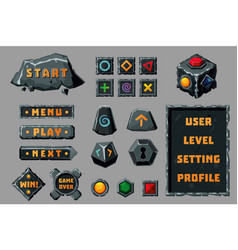 game design ui kit cartoon buttons banners and vector image