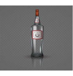 Glass vodka bottle with screw cap vector