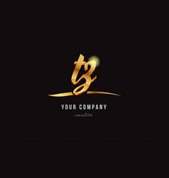 Gold alphabet letter tz t z logo combination icon vector