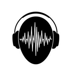 headphones icon with sound wave beats headphones vector image