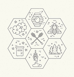 Honeycomb with items vector