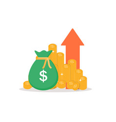 Income increase financial strategy gold coins vector
