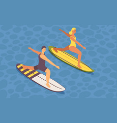 Isometric guy and girl doing sup yoga on vector