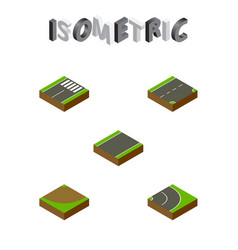 Isometric way set of unilateral turn down and vector
