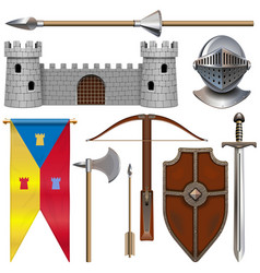 Knight armor icons set 1 vector