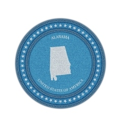 Label with map of alabama Denim style vector