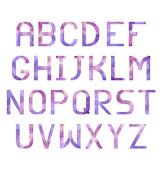 Latin alphabet with triangular purple texture vector