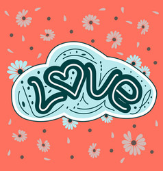 love drawn letters with trendy pastel colors vector image