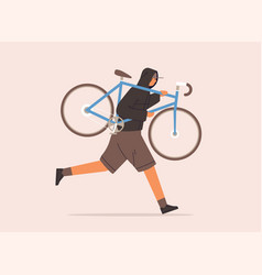 male carrying broken bike to repair service vector image