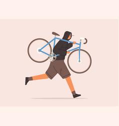 Male carrying broken bike to repair service vector