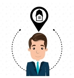 Man house pin location vector