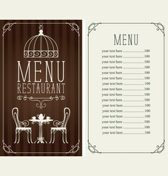 menu with price image served table and chairs vector image