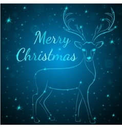 Merry Christmas blue deer vector