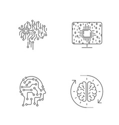 modern technology ai concept editable stroke vector image