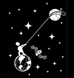 Moon tether pull cartoon black vector