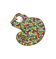 Mosaic chameleon cartoon colorful animal vector
