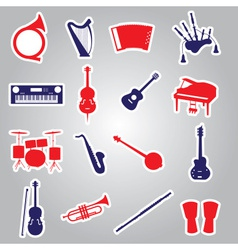 musical instruments stickers eps10 vector image