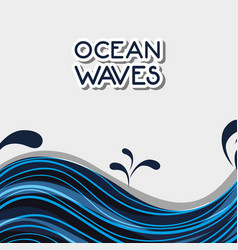 Ocean waves with natural plants design vector