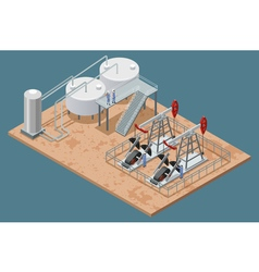 Oil Production Facilities Isometric Poster vector