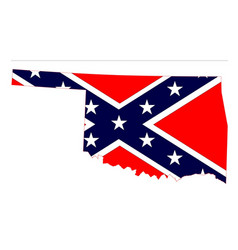 Oklahoma map and confederate flag vector