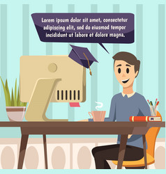 Online education composition in comics style vector