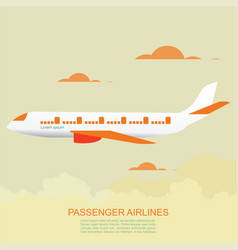 passenger airlines with airplane vector image