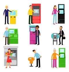 People using atm terminal set man and woman doing vector
