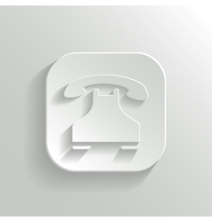 Phone icon - white app button vector image