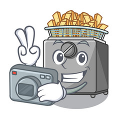 Photographer cooking french fries in deep fryer vector