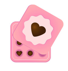 Pink box with chocolate sweets and heart symbol on vector