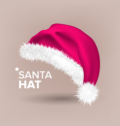 pink santa hat party icon head background vector image