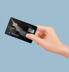 plastic card in hand businessman holding vector image