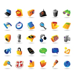 Realistic icons set for interface vector