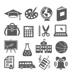 school and education icons on white background vector image