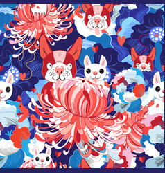 Seamless bright floral pattern love puppies vector